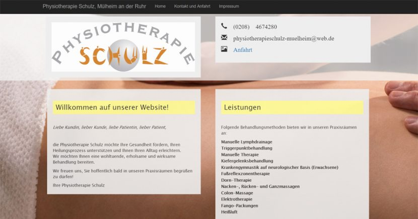 Referenz Webdesign Physiotherapie