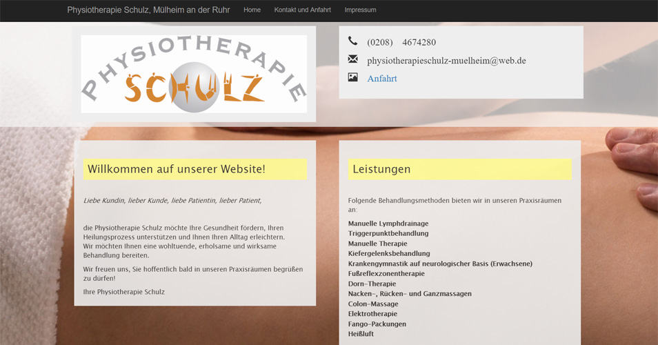 Referenz Webdesign Physiotherapie