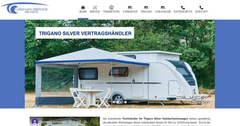 Referenz Webdesign: Startseite Caravanhandel