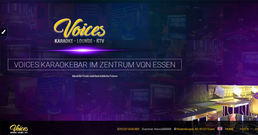 Referenz: Wordpress-Website für Voices Karaoke-Bar in Essen